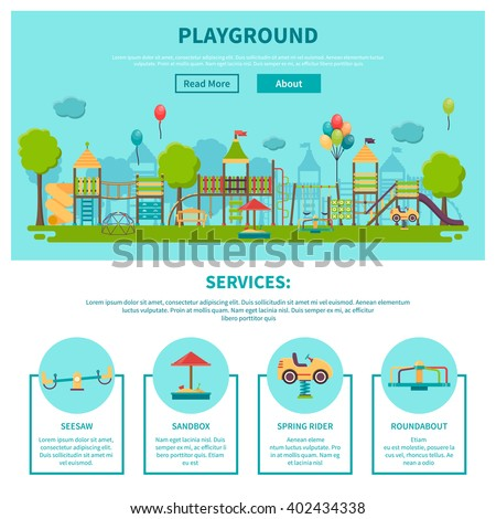 Color illustration web site page about outdoor games showing different playground services seesaw sandbox spring rider roundabout vector illustration - stock vector
