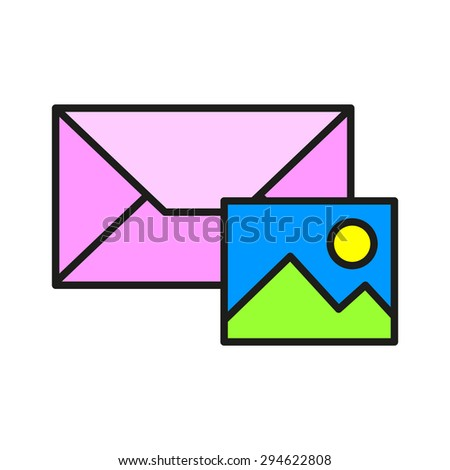 color image icon in the mail, mms