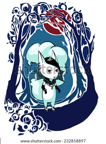 Color image of the character of gothic girl in the image of squirrels/Character Gothic Girl in a Dark Frame