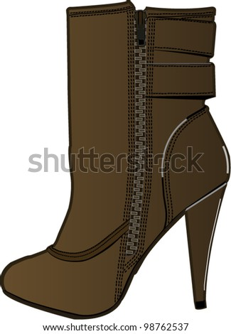 Color images of a vector of female footwear