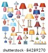 Color images of lamps on a white background - stock photo