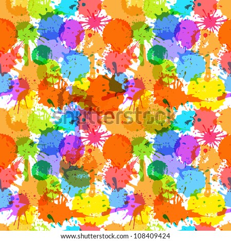 Color ink blots seamless background - stock vector