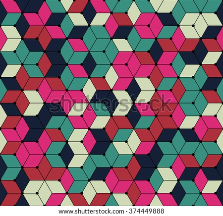 Color inspiration and ideas for home decorating. Rich floral shades. Diamonds polygonal design. seamless texture pattern