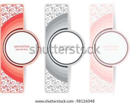 Color labels with a flower pattern - stock vector