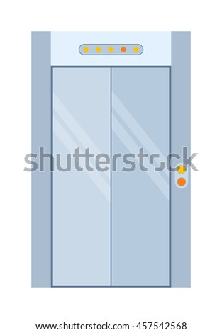 Color lift door isolated on white. Colorful front door to house and building in flat design style isolated. Vector illustration door isolated modern new decoration open elegant room lock - stock vector