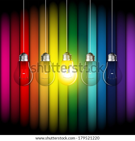 Color light bubbles with colored background - vector - stock vector
