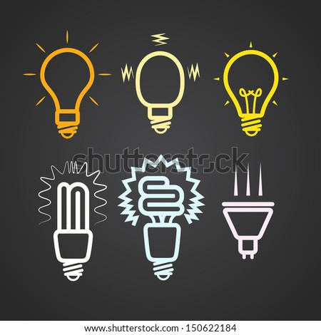 Color light lamps with rays silhouettes collection - stock vector