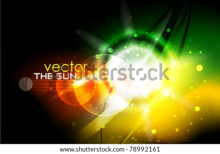 Color lights in darkness. Vector abstract background - stock vector