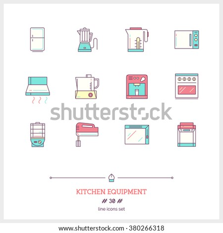 Color line icon set of kitchen equipments objects, tools and elements. Coffee maker, blender, fridge, cooker, bread maker, kettle, food processor, toaster, refrigerator, Logo icons vector illustration - stock vector