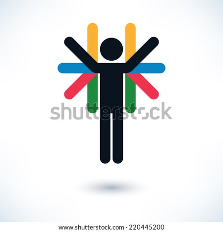 Color logotype human form but with multiple arms. Simple silhouette information sign with gray shadow on white background in flat style. Graphic concept idea design elements vector illustration 8 eps - stock vector