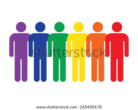 Color logotype six man LGBT movement rainbow flag. Simple silhouette information sign with gray drop shadow isolated on white background in flat style. Design elements in vector illustration - stock vector