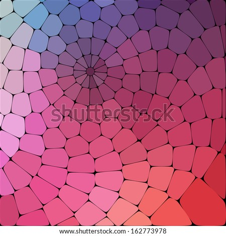 Color magic pattern of geometric shapes. Colorful mosaic banner, spiral curl background.  - stock vector