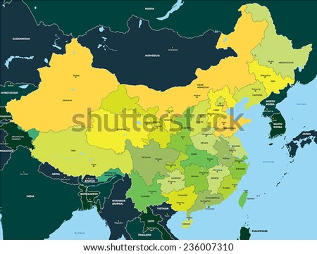 Color map of China - stock vector