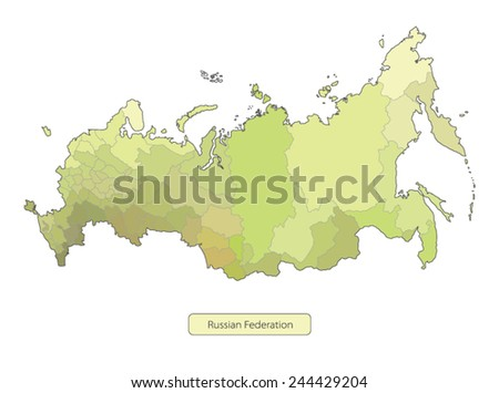 Color map of Russia on white background. Vector illustration - stock vector