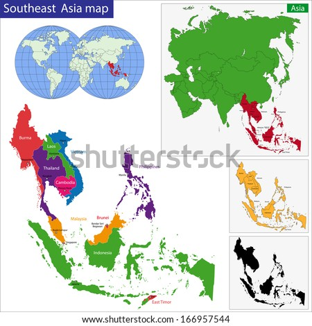 Color map of Southeastern Asia divided by the countries - stock vector