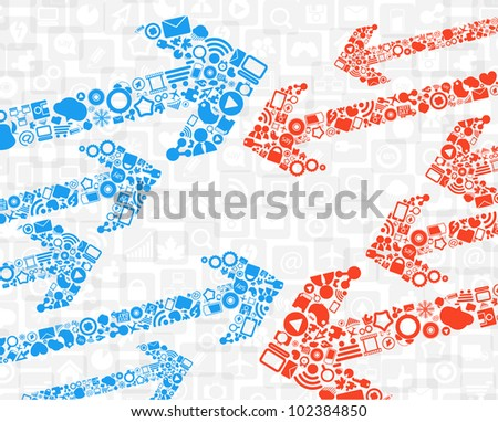 Color media arrows in the way - stock vector