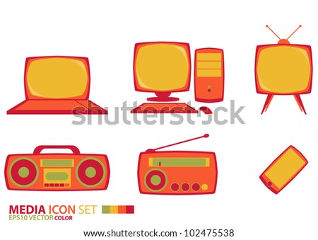 Color media icon set - stock vector