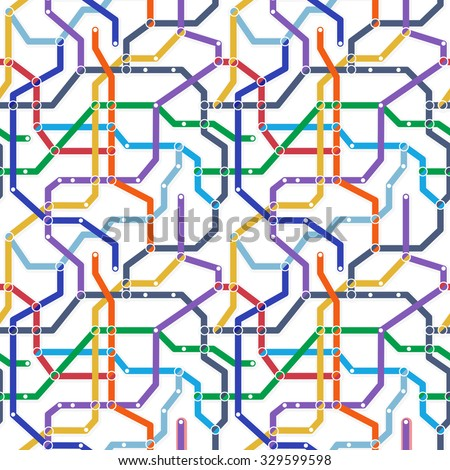 Color metro railway transport scheme on white background. Abstract seamless vector eps8 pattern. Simple map texture - stock vector