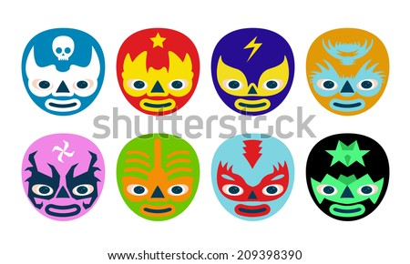 Color mexican wrestlers mask for kids - stock vector