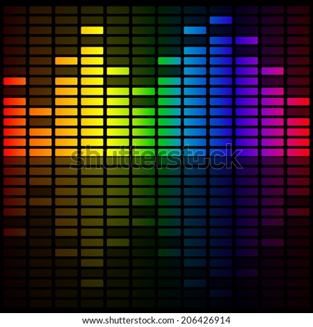 Color Music Equalizer, Abstract Background,Vector illustration.