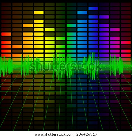Color Music Equalizer and Audio Frequency, Vector illustration.