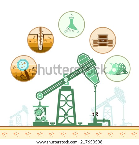 color oil derrick and circle icons with stages of process oil production  - stock vector