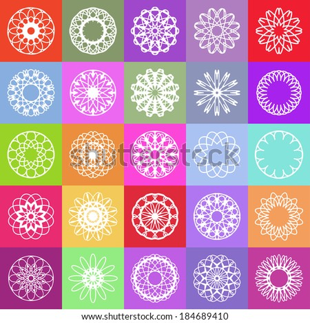 Color ornamental background with squares. Vector spirographs - stock vector