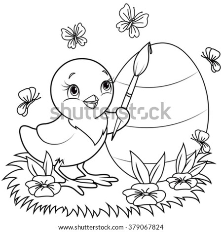 Color page of an Easter Chicken is painting an egg - stock vector