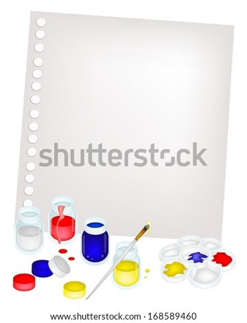 Color Paint Jars and Plastic Art Palette With A Craft Paintbrushes or Artist Brushes and Water Glass Jar on Blank Spiral Paper for Draw and Paint A Picture.  - stock vector