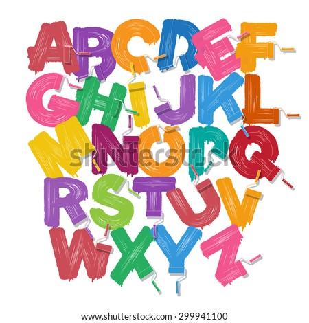 Color paint roller brush alphabet. Rollerbrush font set - stock vector