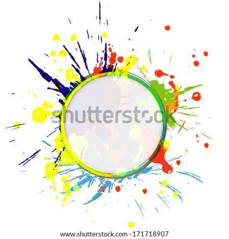 Color paint splashes background. Vector illustration
