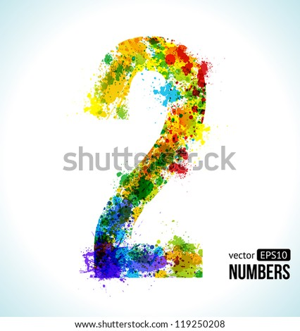 Color Paint splashes. Gradient Vector Font. Number 2. - stock vector