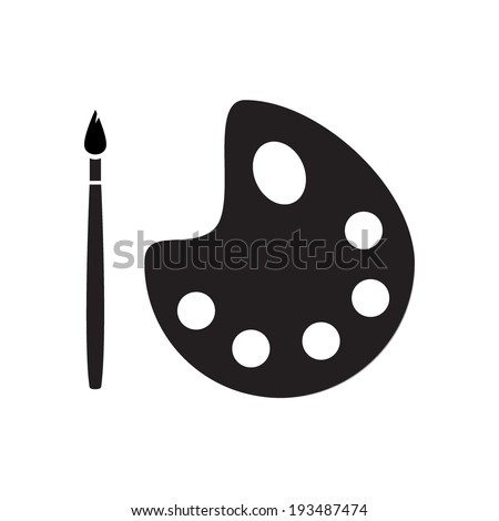 Color palette and artistic brush icons, isolated on white background, vector illustration. - stock vector