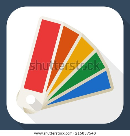 Color palette icon with long shadow - stock vector