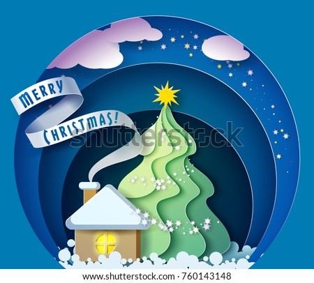 Color paper cut design and craft winter landscape with evergreen tree, house with smoke from chimney, stars and clouds. Holiday nature and christmas tree. Vector illustration. Merry Christmas card.