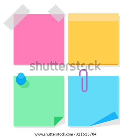 Color paper stickers for notes, flat vector illustration - stock vector