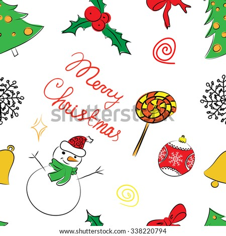 Color pattern of Christmas design elements in sketch  - stock vector