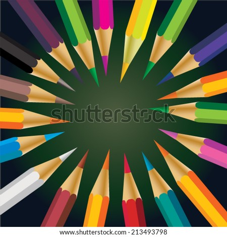 Color pencil by round - stock vector
