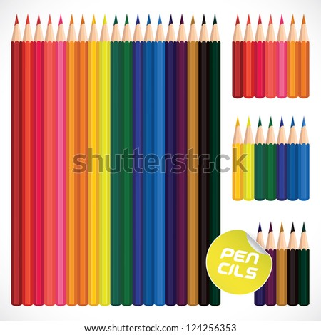 Color Pencils Collection, Illustration, Sign, Symbol, Button, Badge, Icon, Logo for Family, Baby, Children, Teenager, People