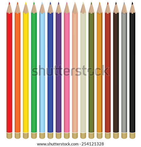 Color pencils drawing vector isolated, pencils spectrum, color palette - stock vector