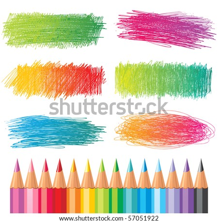color pencils drawings - stock vector