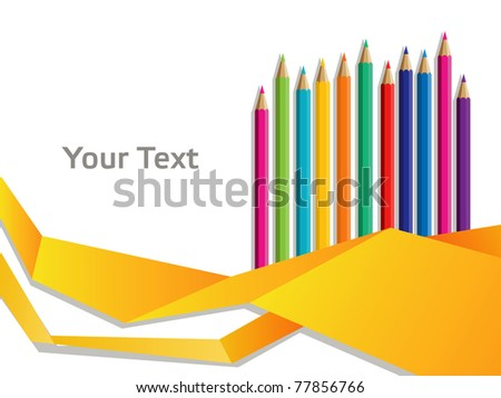 color pencils with abstract origami ribbons - stock vector