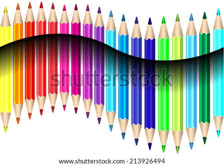 Color pencils with shadow 3d illusion illustration vector - stock vector