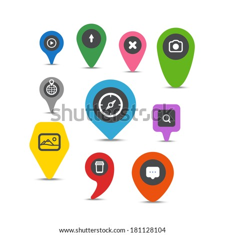 Color pins with different signs - stock vector