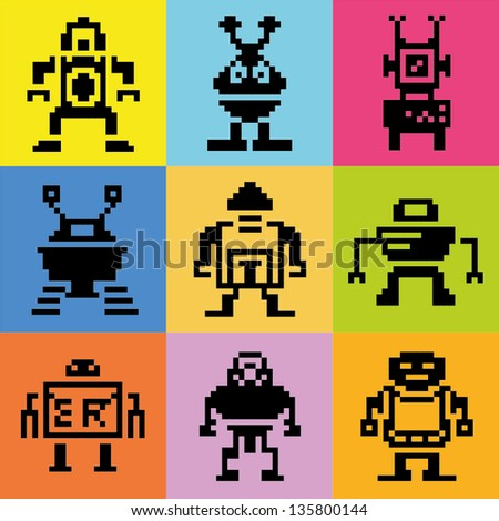 color pixel robot collection - stock vector