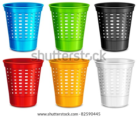 Color plastic basket, trash bins on white background, vector illustration - stock vector