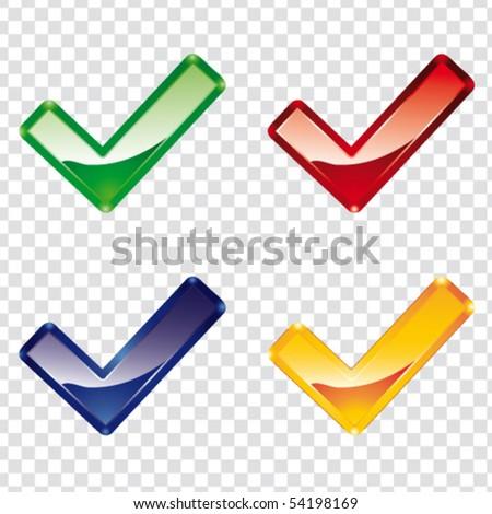 Color plastic tick - stock vector