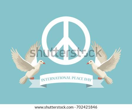 Color Poster White Peace Love Symbol Stock Vector 702421846