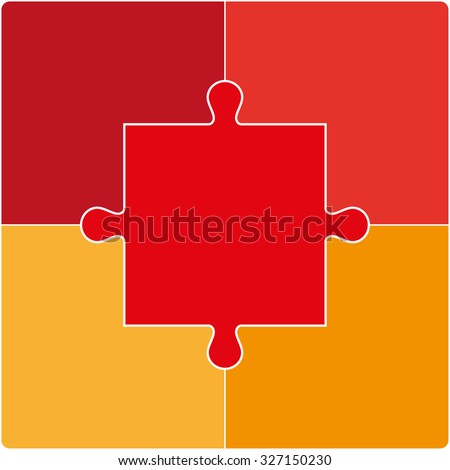 Color Puzzle set of five pieces. Vector illustration