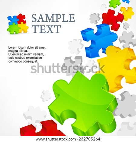 Color puzzles, info graphic elements & text, vector illustration - stock vector